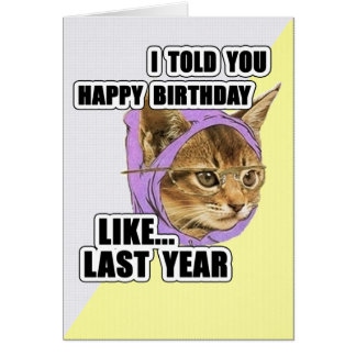 De hippie de Kitty anniversaire de citation Carte De Vœux