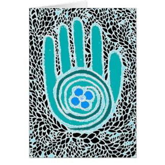 De ma main à votre carte de voeux de main (bleue)