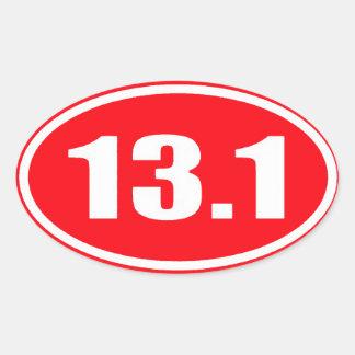 De marathon 13,1 de l'autocollant | de rouge demi sticker ovale