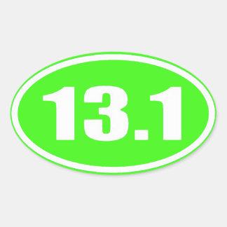 De marathon 13,1 de l'autocollant | de vert de sticker ovale