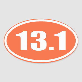 De marathon 13,1 de l'autocollant | d'orange demi sticker ovale