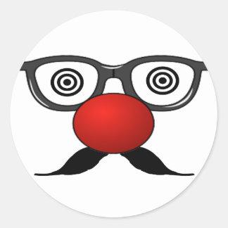 De moustache étrange en verre de yeux de nez rouge adhésif rond