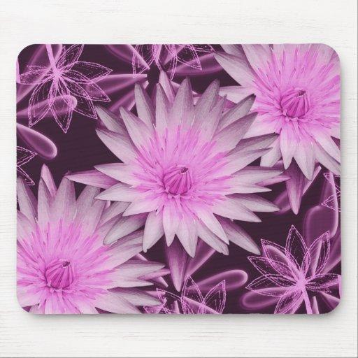 De noir fleur rose lilly tapis de souris