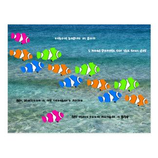 De nouveau à l'accueil de poissons de clown carte postale