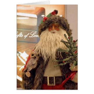 De Père Noël avec la carte de Noël d'amour