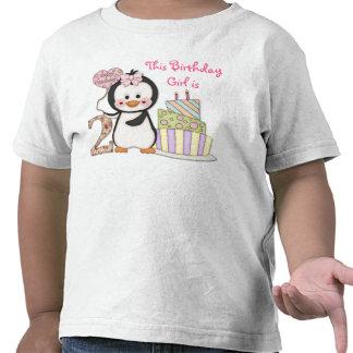 De pingouin de Cutie- de fille anniversaire en sec T-shirt
