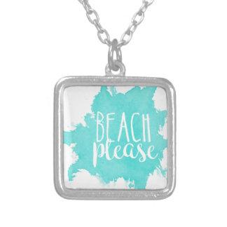 De plage blanc svp pendentif carré