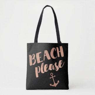 de plage calligraphie rose d'or svp sac