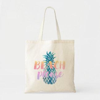 de plage calligraphie svp sur l'ananas bleu sacs en toile