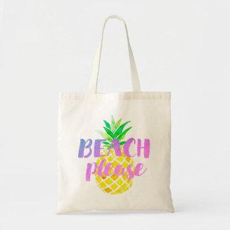 de plage calligraphie svp sur l'ananas d'aquarelle sacs en toile