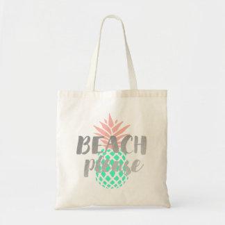 de plage calligraphie svp sur l'ananas turquoise sacs fourre-tout