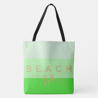 De plage rayures de vert de scintillement d'or svp sac