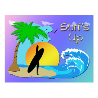 De ressacs carte postale de fille de surfer -
