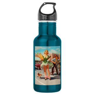 De secousse fille de pin-up drôle vers le bas bouteille d'eau en acier inoxydable