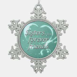 De soeurs coeurs de vert d'Aqua d'amour d'amies Ornement Flocon De Neige Pewter