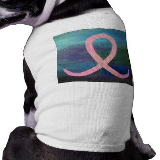 De support pâlissez - le ruban rose de cancer du t-shirt pour chien