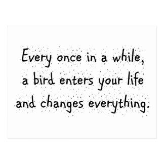 De temps en temps, un oiseau entre dans votre vie… carte postale