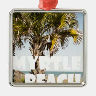 ` de vacances de palmier de Myrtle Beach la Ornement Carré Argenté