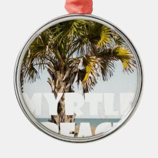 ` de vacances de palmier de Myrtle Beach la Ornement Rond Argenté