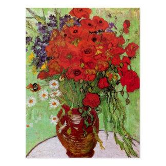 De Van Gogh toujours pavots et marguerites rouges Carte Postale