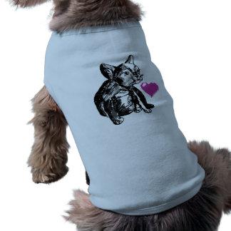 Débardeur à nervures de coeur de dessin de chiot t-shirt pour chien
