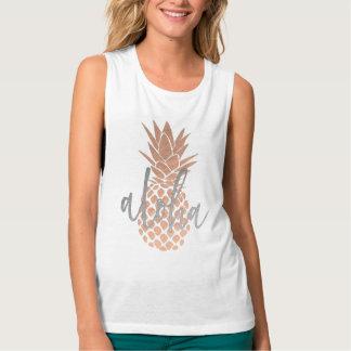 Débardeur aloha ananas rose d'or sur tout arrière - plan de