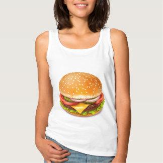 Débardeur américain de blanc d'hamburger