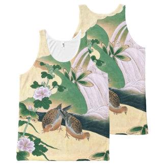Débardeur asiatique de fleurs d'oiseaux de colombe