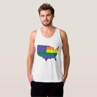 Débardeur Chemise de carte des USA de drapeau d'arc-en-ciel