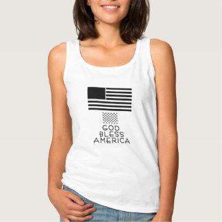 Débardeur Dieu bénissent la chemise patriotique de drapeau