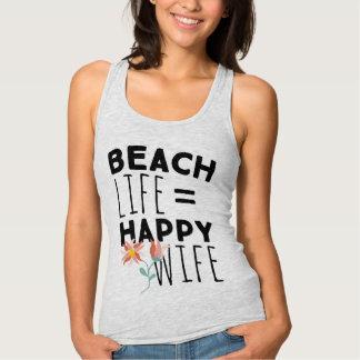 Débardeur heureux d'épouse de la vie de plage