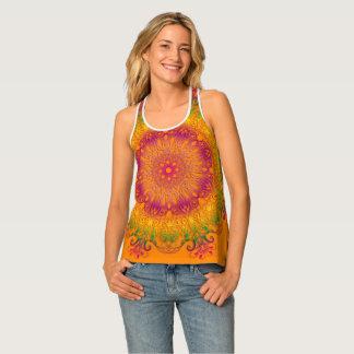 Débardeur Mandala floral ethnique sur le fond orange