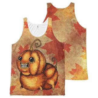 Débardeur mignon de monstre de feuille d'automne
