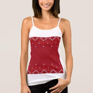 Débardeur Motif tricoté par résumé magenta de Noël et rouge