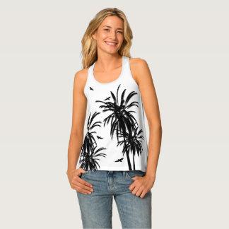 Débardeur Palmiers tropicaux noirs et blancs entourant des