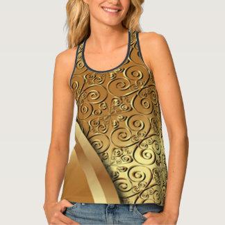 Débardeur Texture plaquée par or avec un papillon d'or