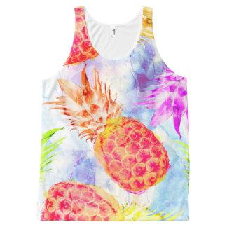 Débardeur Tout-imprimé Aquarelle mignonne de motif tropical d'ananas