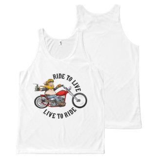 Débardeur Tout-imprimé biker motard ride to live