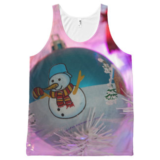 Débardeur Tout-imprimé Bonhomme de neige - boules de Noël - Joyeux Noël