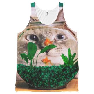 Débardeur Tout-imprimé Chat et poissons - chat - chats drôles - chat fou