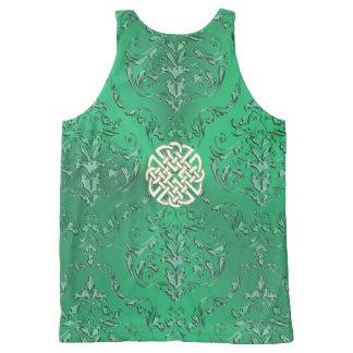 Débardeur Tout-imprimé Damassé verte irlandaise avec le noeud de Celtic