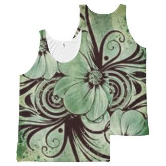 Débardeur Tout-imprimé Floral vert vintage avec des remous