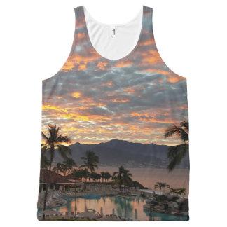 Débardeur Tout-imprimé Lever de soleil de la plage de nouvelle année