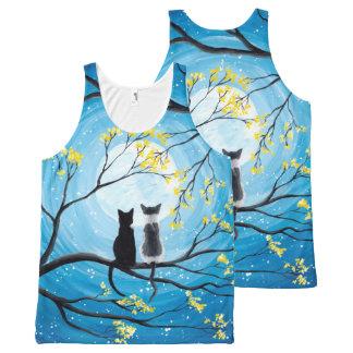 Débardeur Tout-imprimé Lune lunatique avec des chats