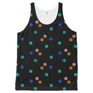 Débardeur Tout-imprimé Noir avec le motif de point coloré de polka