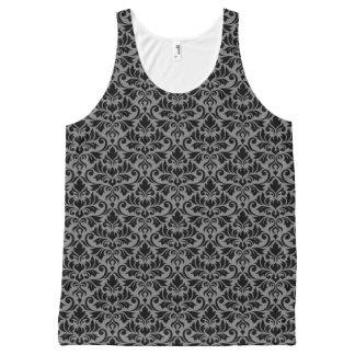 Débardeur Tout-imprimé Noir de motif de damassé de Flourish sur le gris