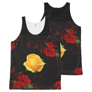 Débardeur Tout-imprimé roses rouges et jaunes sur le noir