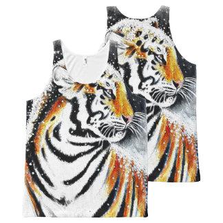 Débardeur Tout-imprimé Tigre dans la neige noir