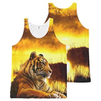 Débardeur Tout-imprimé Tigre et coucher du soleil