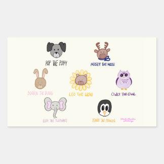 Décalque d'autocollant d'Ani-ami-imals de bébé de Sticker Rectangulaire